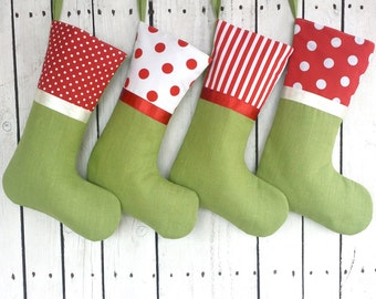 4 Christmas stockings, red and green stockings, personalized stockings, linen polkadot stockings