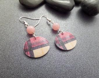 Scottish Tartan Earrings Pink Plaid, Highland Dance Gift, Light Plastic, Jewelry from Scotland