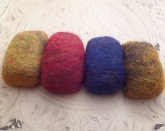Scottish Handmade Felted Soap with Sheep Wool, Set of Four Yellow, Blue, Red. Gift From Scotland