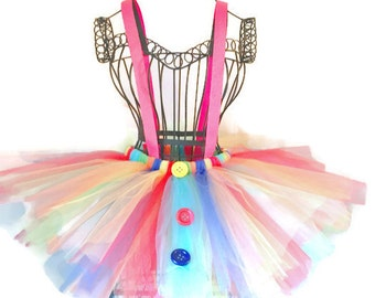 Clown Rainbow Tutu-Rainbow-Clown Tutu-Halloween-Dance-Recital-Adult Costume-Child Photo Shoot