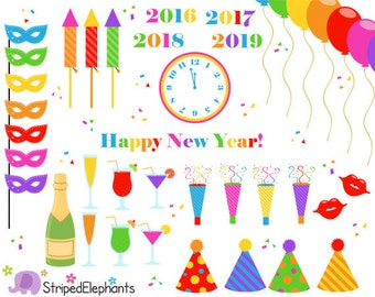 New Year's Eve Clip Art Bright - Party Clip Art - Instant Download - Commercial Use