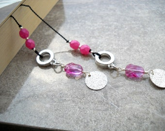 """Pink, silver, black silk cord bookmark: """"Spritely"""" - Gift under 10, gift for bookworms, gift for readers, black bookmark, pink bookmark"""