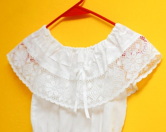Mexican girl blouse: vintage, shoulder lace frill top, white cotton, artisan made, flower and diamonds.