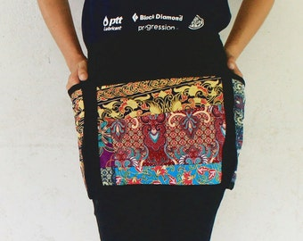 Unisex half apron 3 bags Thai batik and Thai cotton tone 100%cotton,for Muti task Restaurant ,Cooking ,Student, Artist, Barber