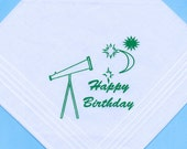 50% DISCOUNT: Gents Happy Birthday Astrological Screen Print Handkerchief with Telescope, Moon & Stars image.in Mid Green
