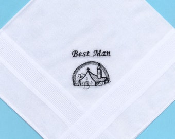SALE - 50% DISCOUNT - Bestman Wedding Handkerchief Embroidered Image of Chapel with Rainbow is in Black - 1 of only