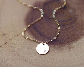 Simple Gold Disc Necklace, Personalized Necklace, Initial Necklace, Monogrammed Necklace, Mothers Gift, Bridesmaid Gifts, S/S, RG, 11MM