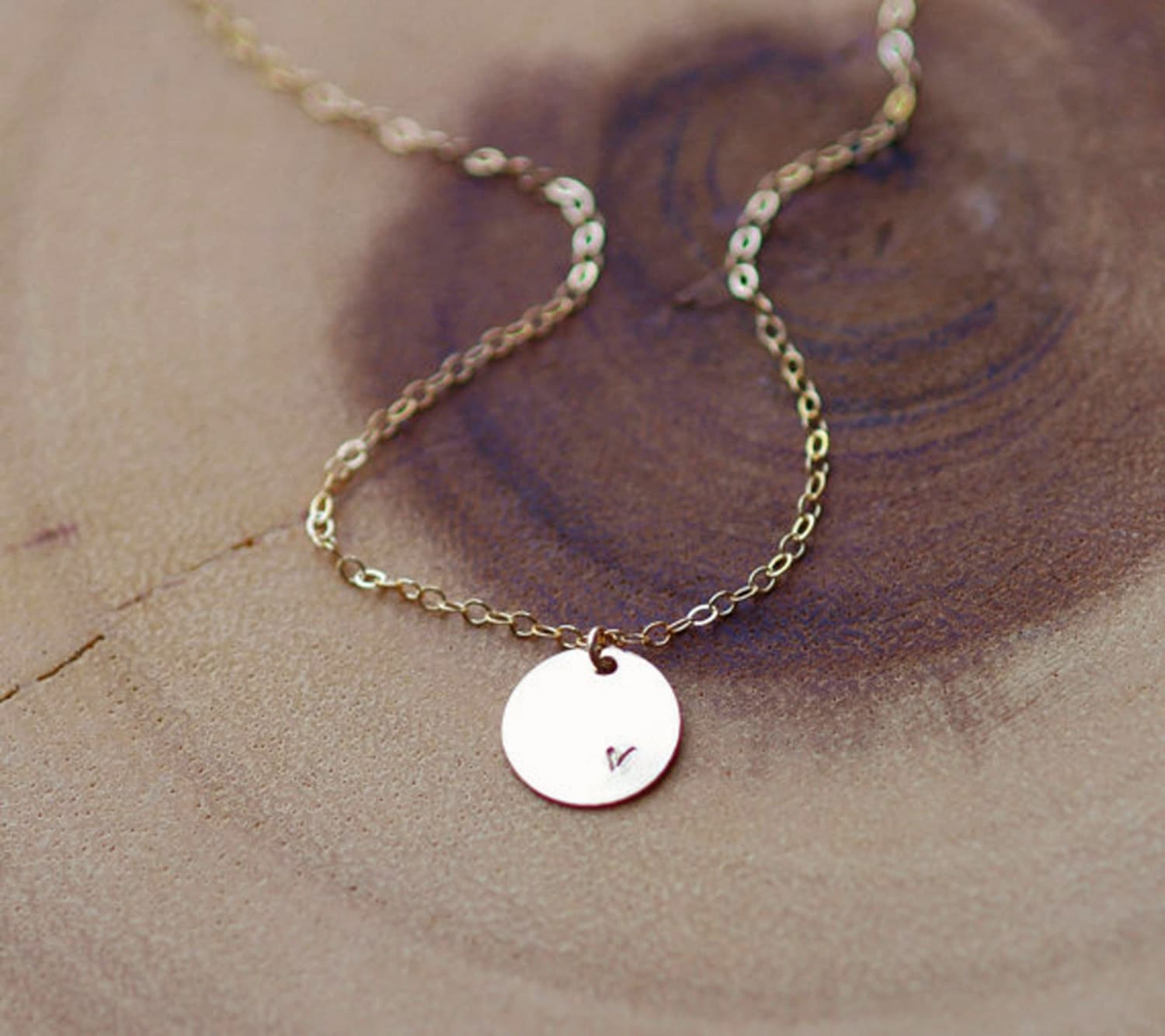 simple gold disc necklace personalized necklace initial. Black Bedroom Furniture Sets. Home Design Ideas