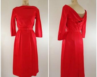 Vintage 1950s Cocktail Dress / Red Satin Dress / Party Dress / Evening Wear / Small Medium