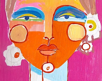 original acrylic painting of face, India, woman's face, abstract face