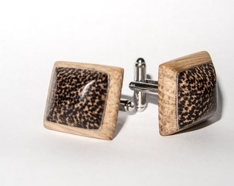 Wooden cuff links oak and black palm