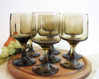 "Vintage Smoked Wine Glasses, Goblets, Libbey Rock Sharpe TAWNY ACCENT Set of 7 ... 5 1/4"" Stemware, Cocktails ... Retro Modern Barware"