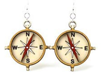 Compass - Laser Cut Wood Earrings