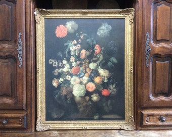 Vintage French Galerie Spitzer reproduction Still Life with Flowers by Franz Werner von Tamm painting framed circa 1920-30's / English Shop