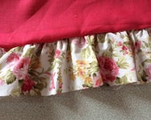 Linen ruffle pillow SHAM - Solid reddish fuchsia with floral ruffle