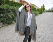 Green-women's poncho,oversize flannel blanket scarf-boucle-wool-wrap shawl/2015 winter FASHION-women's scarves-men's poncho-accessories