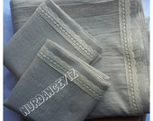 Natural woven Cotton Linen QUEEN KING  bed sheet sets flat fitted pillow cases lace ivory oatmeal ODEMIS Turkish country farmhouse bedding