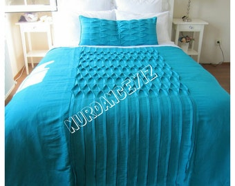 Pintuck bedding-Beach bedding-Shabby cottage chic pintuck ruched bedding-teal green linen Duvet cover Queen King custom bedding Nurdanceyiz