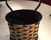Vintage 50s Metal Lucite Box Purse Gold Black
