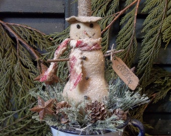 Primitive Snowman in Vintage Enamelware Cup - Christmas/Winter or Holiday Decoration