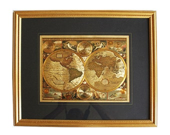 Framed Gold Foil Old World Map 1651