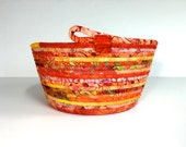 Coiled Rope Basket in Bright Orange - Mothers Day Gift - Citrus Organizer - Handmade Homemade Fiber Art by Sally Manke