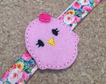 Pink Rose Birdie Feltie With Floral Headband, Bird Headbands and Hair Clips, Simple Hair Bows, Everyday Hair Bows, Ready To Ship