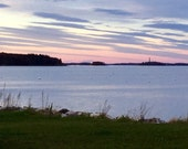 Sunset on Casco Bay, Portland, Maine, Sky Blue Pink,   SPECIALIZING in CUSTOM ORDERS