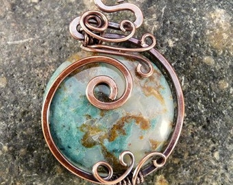 Wire Wrapped Ocean Jasper Pendant Necklace. Copper, Blues