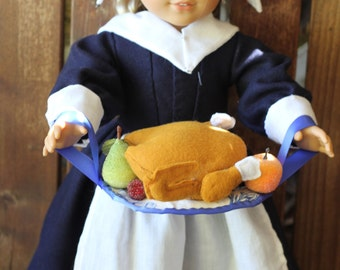 pilgrim collection, Thanksgiving dress, fichu, and cap and faux turkey platter for 18in American girl dolls
