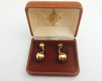 Vintage gold tone Cufflinks, mint condition, in original box, FATHER'S DAY Sale item no. M001