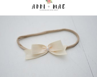 Cream Dainty Bow Headband