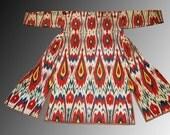 SALE Uzbek women's vintage  colorful soft silk cotton   ikat adras chapan robe l size