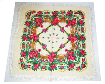 Amazing Vintage shawl Russian shawl,Scarf With Tassels,floral scarf, Wool shawl,Babushka large size
