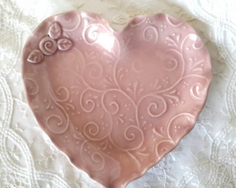 Ceramic Heart Plate - Heart Plate - PinkHeart Plate - Valentine Plate - Handmade Heart Plate - Pottery Heart Plate - Heart Plate with Leaves