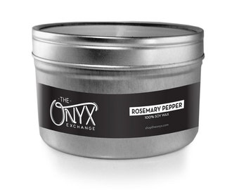 Rosemary Pepper Scented Candle - 4 oz. Tin Soy Wax Candle - Black peppercorn scented candle