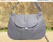 On Sale 10% off gray cotton canvas messenger bag / shoulder bag / everyday bag / diaper bag / cross body bag - 6 pockets