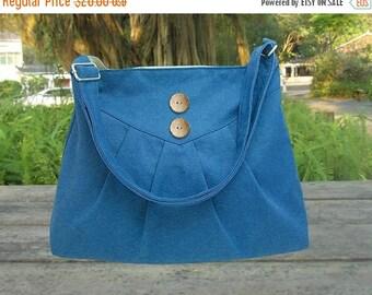 Summer Sale 10% off blue cotton canvas purse / cross body bag / messenger bag / shoulder bag / diaper bag