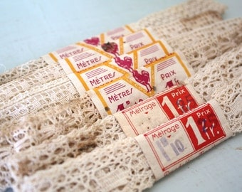 Vintage French Lace - Set of Six Trimmings in Cream with Original Labels
