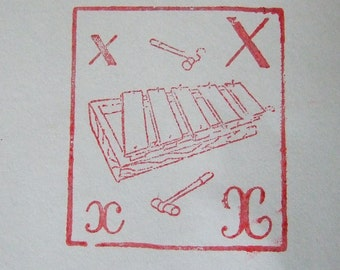 French Xylophone Rubber Stamp letter X Vintage French music instrument