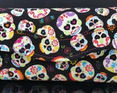 Sugar Skull Clutch Wallet, RFID blocking material, Handmade, NCW, Ready to Ship, Meri Roo, Fire And Sand Studio, Bridesmaid gift, Black Pink