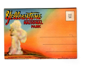 Vintage Yellowstone National Park Wyoming Postcard Souvenir Folder, Retro Road Trip Souvenir Ephemera, Travel Journal, Scrapbook Supplies