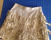 Cochella festival linen and suede fringe shorts lined in cotton size small