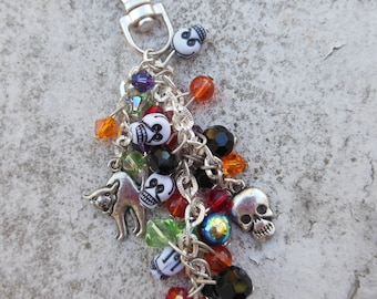 Beaded Crystal Halloween Purse Charm, Key Chain, Skeletons, Bat, Cat.  Creepy