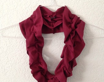 Burgundy Purple/Red Frilly Multi-Wear Scarf