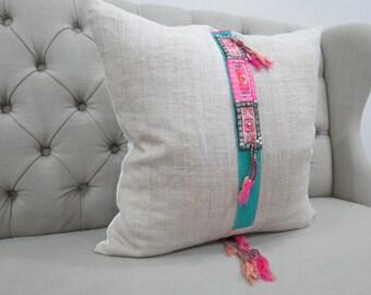 22x22, Vintage Hmong Hemp cushion cover, Handwoven Hemp Fabric-vintage Homespun hemp,Decorative Cushion
