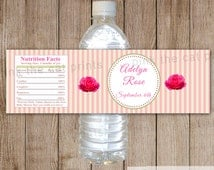 Rose Flower Water Bottle Label Stripes Baby Girl Shower Kids Birthday Party Decoration Printable Personalized