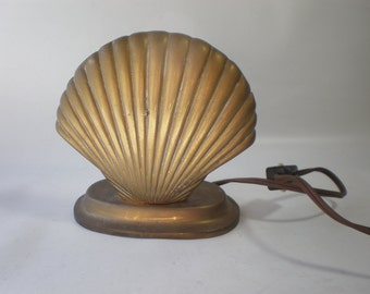 Vintage Brass Shell Desk Lamp Brass Accent