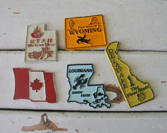 Vintage STATE Magnet Set..retro housewares. kitsch. magnet. kitchen. fridge. state. novelty. collectible. united states of america.