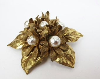 Miriam Haskell Baroque Pearl and Gold Brooch